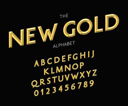 Vector new gold alphabet and font. Letters and numbers Ilustração