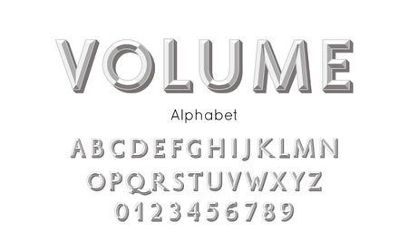 Vector 3d retro volume alphabet and font. Silver letters and numbers Illustration
