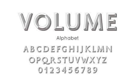 Vector 3d retro volume alphabet and font. Silver letters and numbers Ilustração