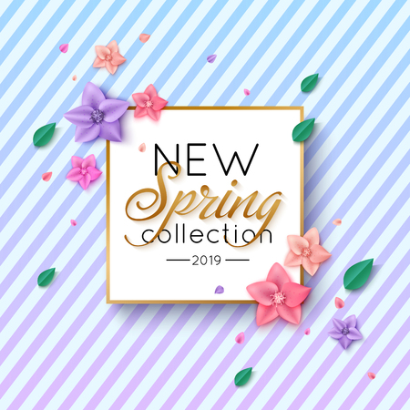 Spring New Collection Banner with colorful flowers and foliage on striped background
