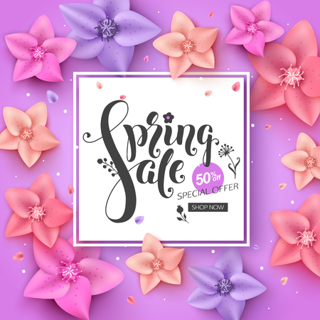 Spring sale banner design with colorful flowers and falling petals. Elrgant lettering inscription