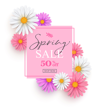 Spring sale banner with white, pink and lilac daisies