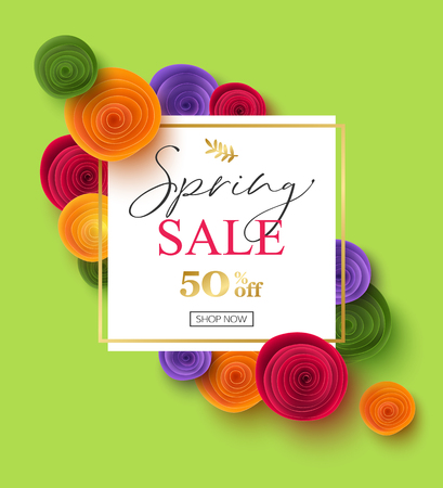 Spring sale banner template with paper rose flowers, vector illustration Stock Vector - 122914394