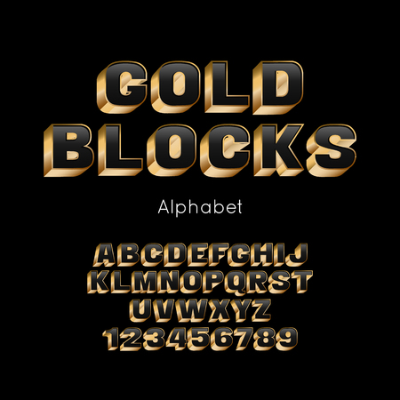 Vector Gold Blocks alphabet and font. 3d letters and numbers
