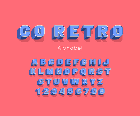 Vector Go Retro bold modern font and alphabet. 3d letters and numbers Illustration