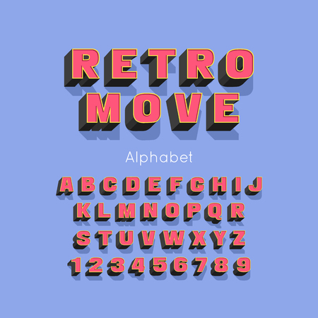 Vector Retro Move bold modern font and alphabet. 3d letters and numbers Ilustração