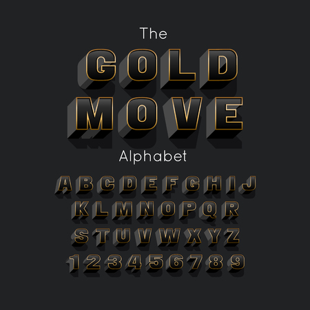Vector Gold Move bold modern font and alphabet. 3d letters and numbers Illustration
