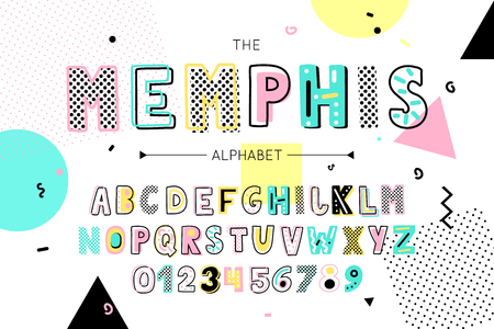 Memphis font and alphabet. Vector type with colorful abstract letters and numbers