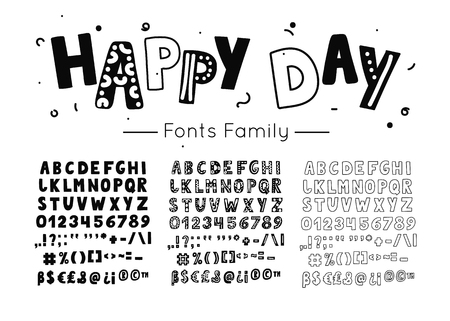 Scandinavian font. Vector kids hand drawn alphabet. Hygge style letters, numbers and symbols. Happy day type family