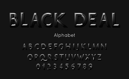 Black deal font and alphabet. Vector type with 3d letters and numbers