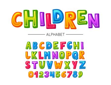 Children font. Vector colorful kids alphabet with letters and numbers Ilustração