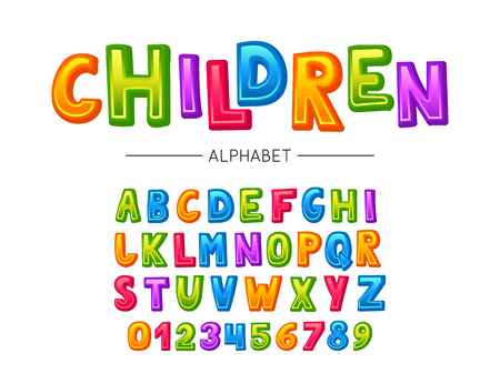 Children font. Vector colorful kids alphabet with letters and numbers Illustration