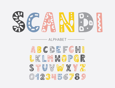 Scandinavian colorful font. Vector childish hand drawn alphabet. Hygge style letters, numbers and symbols. Happy day type family
