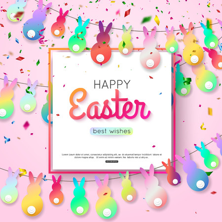 Easter wishes greeting card with hanging rabbit and colorful confetti