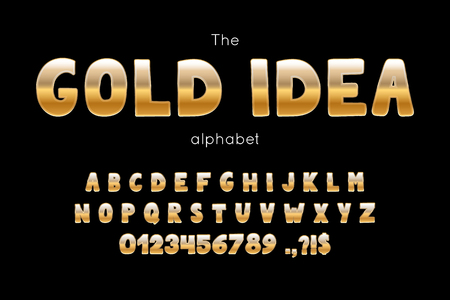 Vector font and alphabet. Set of latin letters and numbers. Gold Idea type