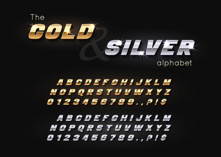 Alfabeto y fuente de oro y plata de vector.