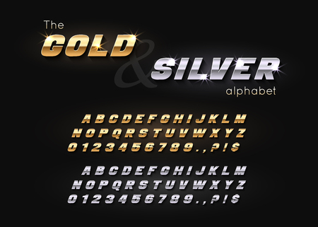 Vector Gold and Silver Font and Alphabet. Vettoriali