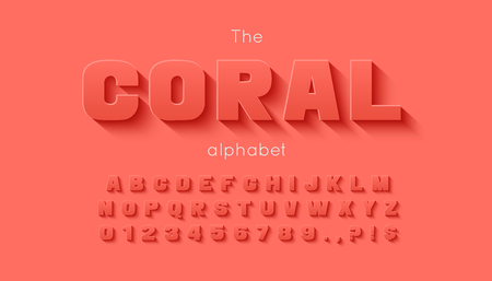 Vector 3d bold font and alphabet. Illustration