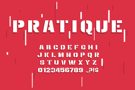 Vector modern font and alphabet.