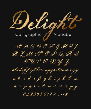 Vector gold font and alphabet. Illustration