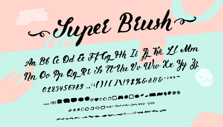 Vector brush font and alphabet.
