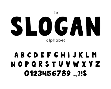 Vector font and alphabet. Illustration