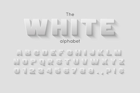Vector 3d bold font and alphabet. Ilustração