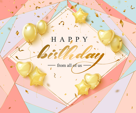 Happy Birthday celebration typography design for greeting card Standard-Bild - 123629177
