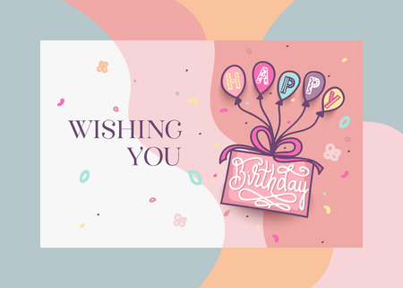 Happy Birthday greeting card design with cake, colorful balloons and lettering text