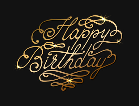 Vector Happy Birthday lettering text. Gold color.