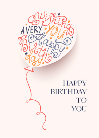 Vector birthday balloon with confetti. Lettering text