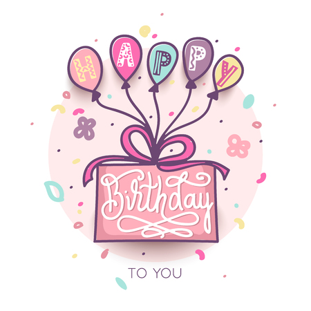 Birthday greeting card design with lettering text. Birthday cake and colorful balloons Ilustração