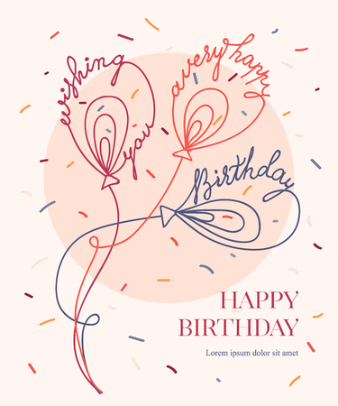 Vector birthday balloons with confetti. Lettering text