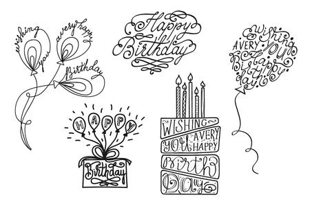 Vector hand drawn birthday cake, balloons and lettering inscription for greeting card design Ilustração