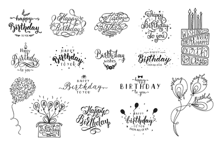Happy Birthday party lettering design. Set of calligraphy quote isolated on white