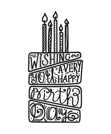 Happy Birthday cake with candles. Lettering design Stock Vector - 122537920