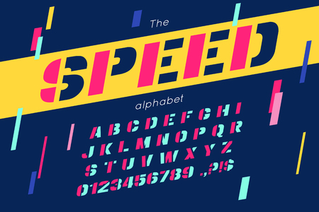 Vector speed font and alphabet.