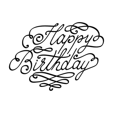 Vector Happy Birthday lettering text isolated on white