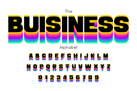 Vector trendy business font and alphabet Stock Vector - 123629332