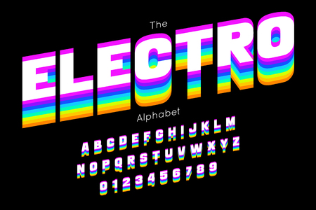 Bright electro font and alphabet.