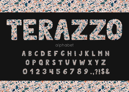 Vector terrazzo font and alphabet.
