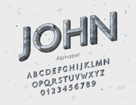 Vector medieval font and alphabet. Vintage abc, english letters and numbers