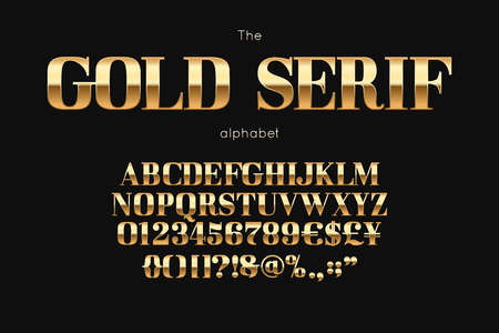 Gold serif font and alphabet.