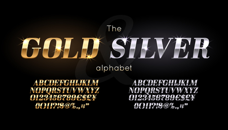 Silver and Gold serif font and alphabet. Illustration