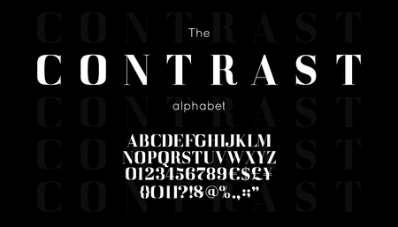 Classic  serif font and alphabet.