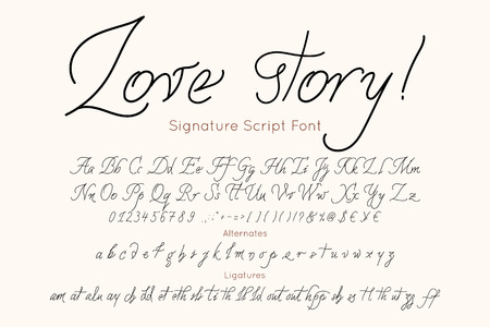 Love story  font and alphabet. Illustration