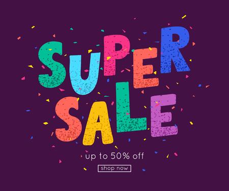 Super sale banner template design. Vector illustration