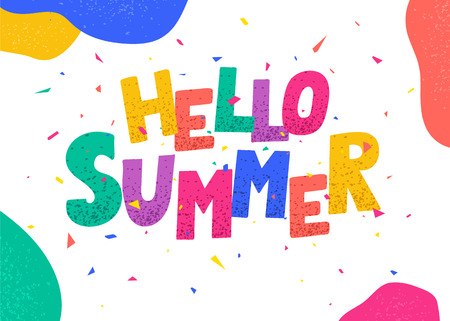 Hello summer poster. Colorful letters.