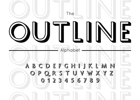 Outline font and alphabet.