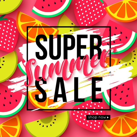 Summer sale background with kiwi, orange, watermelon and strawberry slices
